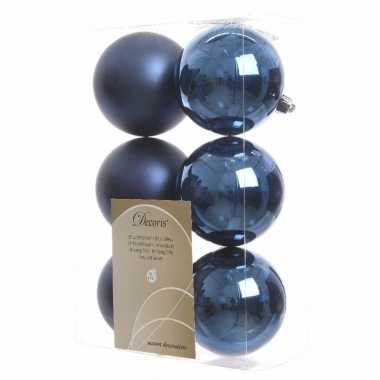6-delige kerstballen set blauw