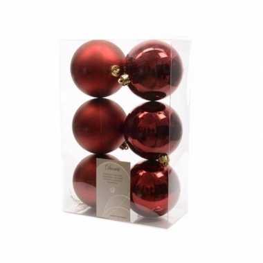 6-delige kerstballen set donker rood