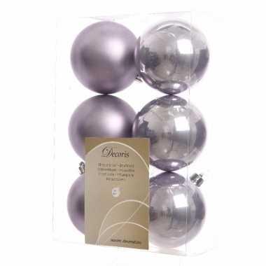 6-delige kerstballen set lila