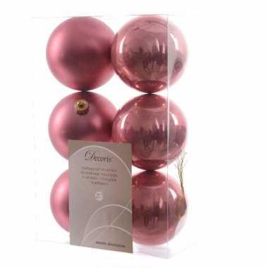 6 delige kerstballen set oud roze