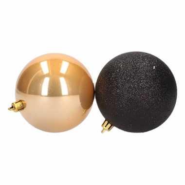 6 delige kerstballen set zwart goud