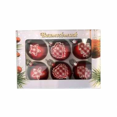 6 kerstballen country style rood