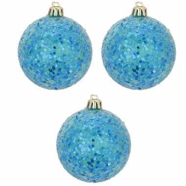 6x blauwe kerstballen met glitters 8 cm