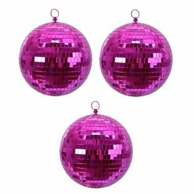 6x fuchsia roze spiegelballen disco kerstballen 8 cm