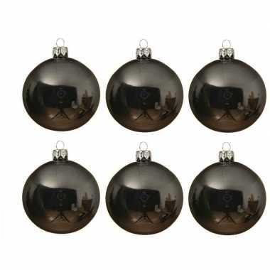 6x glazen kerstballen glans grijsblauw 8 cm kerstboom versiering/decoratie