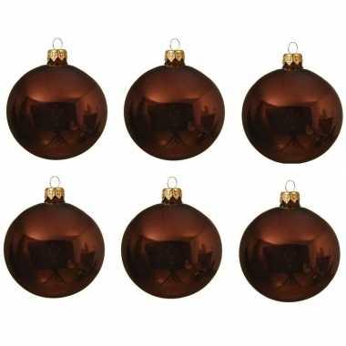 6x glazen kerstballen glans roodbruin 8 cm kerstboom versiering/decoratie