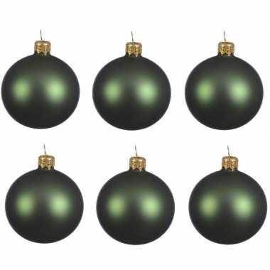 6x glazen kerstballen mat donkergroen 6 cm kerstboom versiering/decoratie