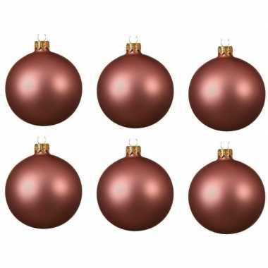 6x glazen kerstballen mat oud roze 8 cm kerstboom versiering/decoratie