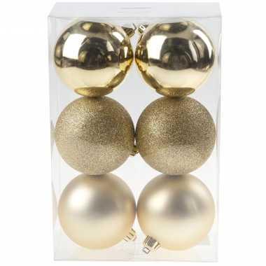 6x gouden kerstballen 8 cm kunststof mat/glans/glitter