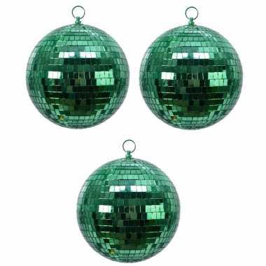 6x groene spiegelballen disco kerstballen 8 cm