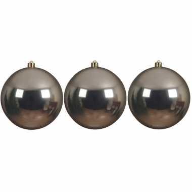 6x grote raam/deur/kerstboom decoratie champagne beige kerstballen 14 cm glans