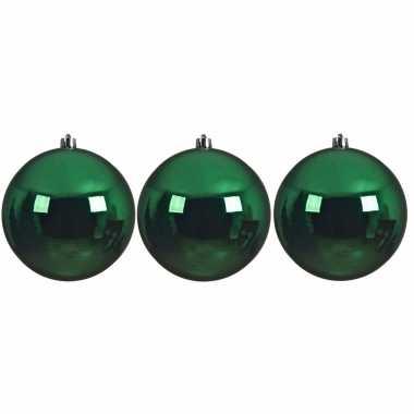 6x grote raam/deur/kerstboom decoratie kerst groene kerstballen 14 cm glans