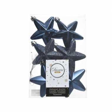 6x kerstballen stervormig blauw kunststof