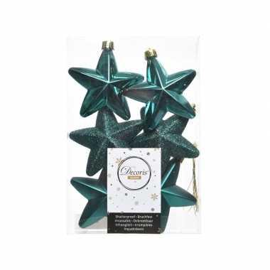 6x kerstballen stervormig smaragd groen kunststof