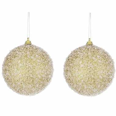 6x kerstboomversiering gouden kerstballen met glitter 8 cm