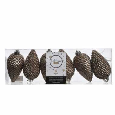 6x kunststof dennenappel kerstballen glitter kasjmier bruin 8 cm kers