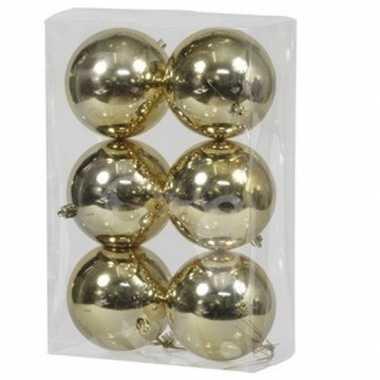 6x kunststof kerstballen glanzend goud 10 cm kerstboom versiering/decoratie