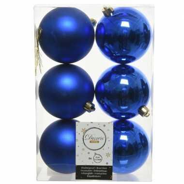 6x kunststof kerstballen glanzend/mat kobalt blauw 8 cm kerstboom versiering/decoratie