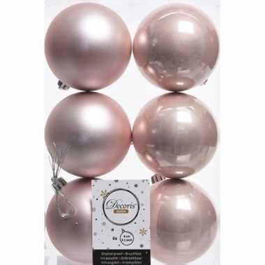 6x kunststof kerstballen glanzend/mat licht roze 8 cm kerstboom versi