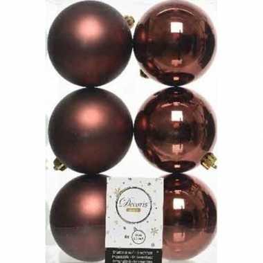 6x kunststof kerstballen glanzend/mat mahonie bruin 8 cm kerstboom ve