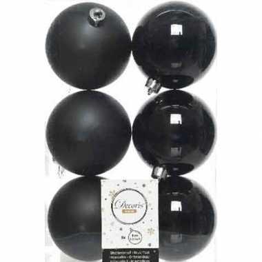6x kunststof kerstballen glanzend/mat zwart 8 cm kerstboom versiering