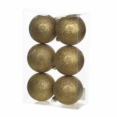 6x kunststof kerstballen glitter goud 8 cm kerstboom versiering/decoratie