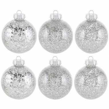 6x kunststof kerstballen glitter zilver 8 cm kerstboom versiering/decoratie