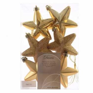 6x kunststof sterren kerstballen glans/mat/glitter goud 7 cm kerstboo