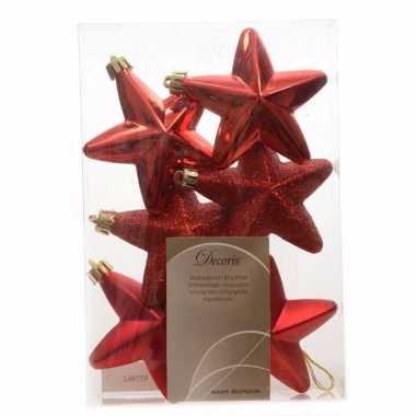 6x kunststof sterren kerstballen glans/mat/glitter kerstrood 7 cm ker