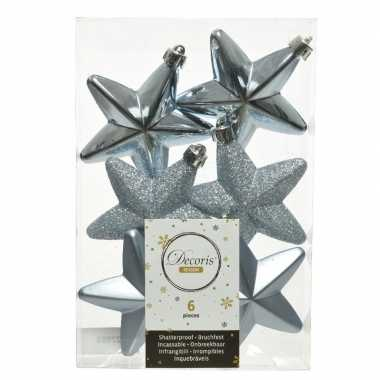 6x kunststof sterren kerstballen glans/mat/glitter lichtblauw 7 cm kerstboom versiering/decoratie