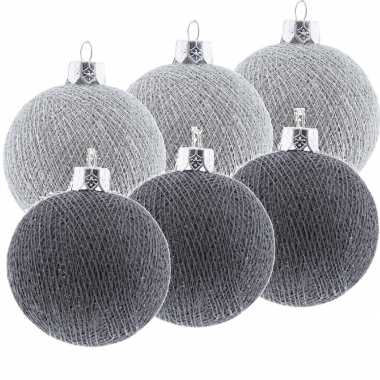 6x zilver/grijze cotton balls kerstballen decoratie 6,5 cm