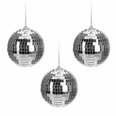 6x zilveren disco/spiegel kerstballen 6 cm kerstversiering