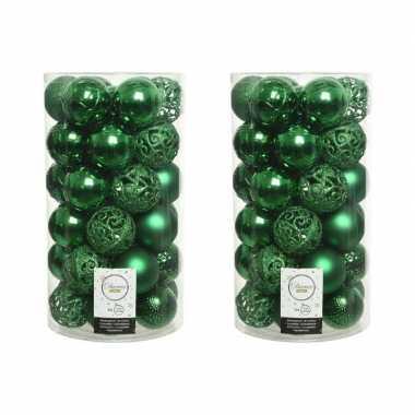 74x kunststof kerstballen mix kerst groen 6 cm kerstboom versiering/decoratie