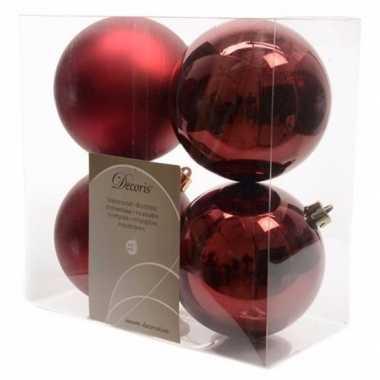 8-delige kerstballen set 10 cm donker rood