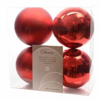 8-delige kerstballen set 10 cm rood