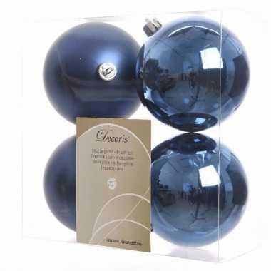 8-delige kerstballen set blauw