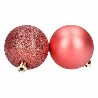 8-delige kunststof kerstballen set rood