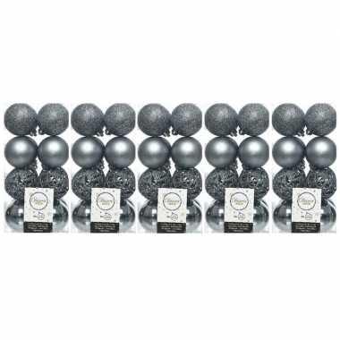80x kunststof kerstballen mix grijsblauw 6 cm kerstboom versiering/decoratie