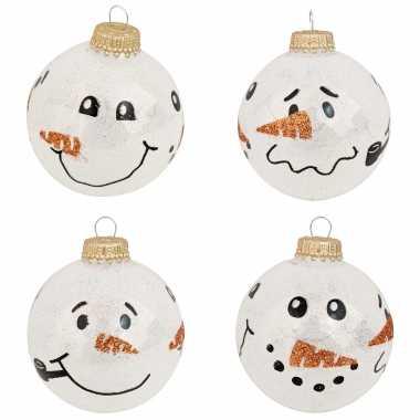 8x glazen witte glitter kerstballen met sneeuwpop 7 cm