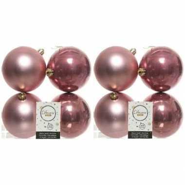 8x kunststof kerstballen glanzend/mat oud roze 10 cm kerstboom versiering/decoratie