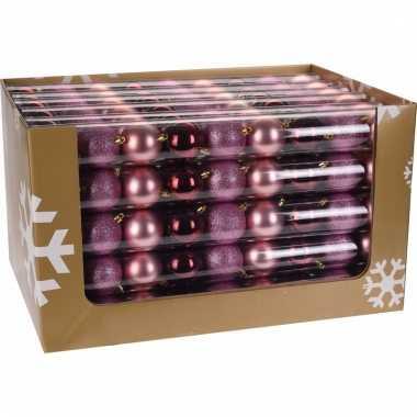 9 delige kerstballen set roze bordeaux