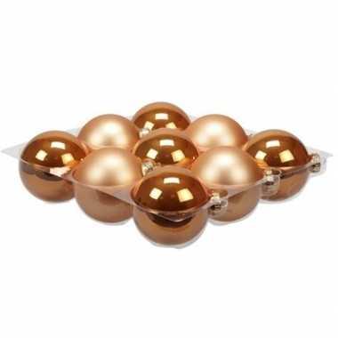 9x glazen kerstballen mat en glans oranje 10 cm