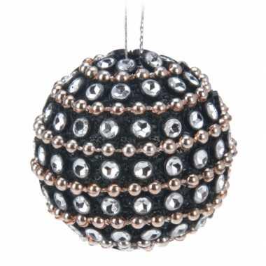 9x kerstballen met steentjes 3,5 cm