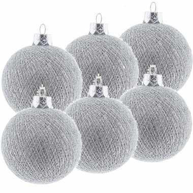 9x zilveren cotton balls kerstballen decoratie 6,5 cm