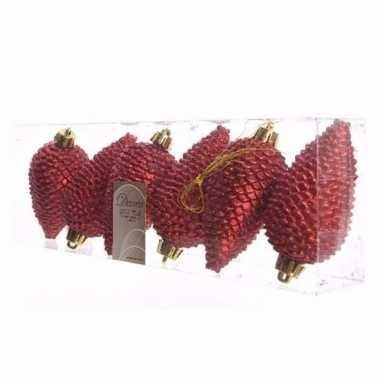 Ambiance christmas kerstballen dennenappelvorm glitter rood