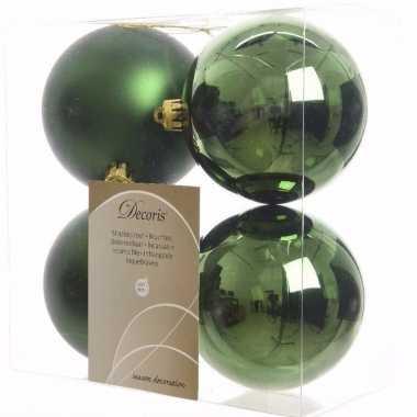 Ambiance christmas kerstboom decoratie kerstballen 10 cm groen 4 stuk