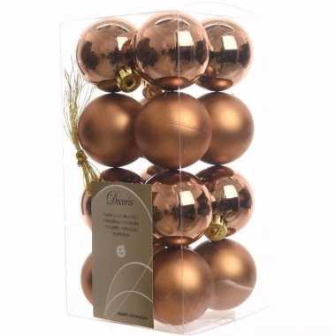 Ambiance christmas kerstboom decoratie kerstballen brons 16 stuks 10097178