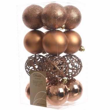 Ambiance christmas kerstboom decoratie kerstballen brons 16 stuks