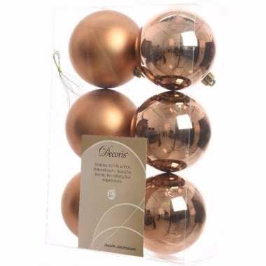 Ambiance christmas kerstboom decoratie kerstballen brons 6 stuks