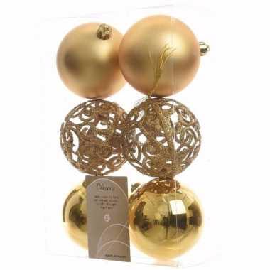 Ambiance christmas kerstboom decoratie kerstballen goud 6 stuks